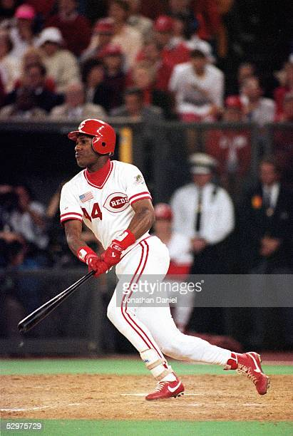 Eric Davis of the Cincinnati Reds swings at a pitch during Game two of the 1990 World Series against the Oakland Athletics at Riverfront Stadium on...