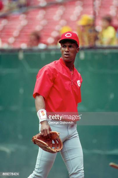 Eric Davis of the Cincinnati Reds walks off the field after batting practice before a Major League Baseball game against the Pittsburgh Pirates at...
