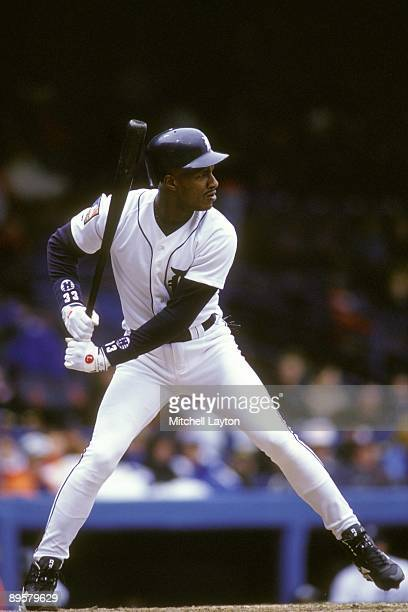Eric Davis of the Detroit Tigers takes a swing during a baseball game against the Chicago White Sox on April 20 1994 at Tigers Stadium in Detroit...