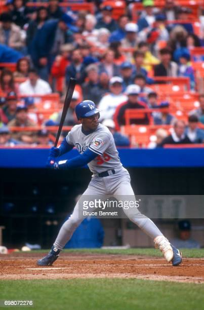 Eric Davis of the Los Angeles Dodgers bats during an MLB game against the New York Mets on May 10 1992 at Shea Stadium in Flushing New York