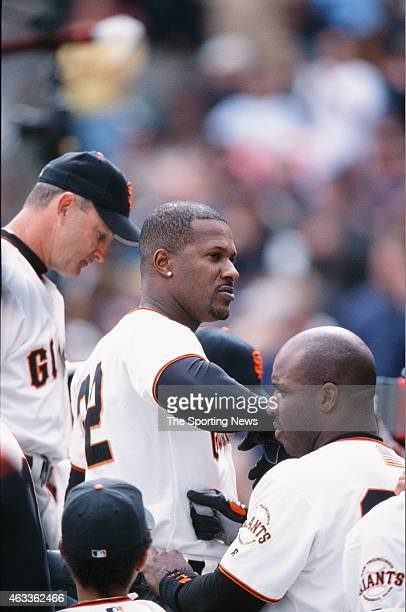 Eric Davis of the San Francisco Giants celebrates against the Los Angeles Dodgers at Pacific Bell Park on October 7 2001 in San Francisco California