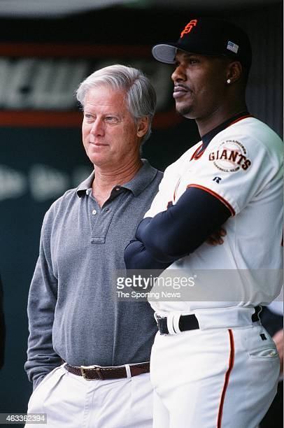 Eric Davis of the San Francisco Giants looks on against the Los Angeles Dodgers at Pacific Bell Park on October 7 2001 in San Francisco California