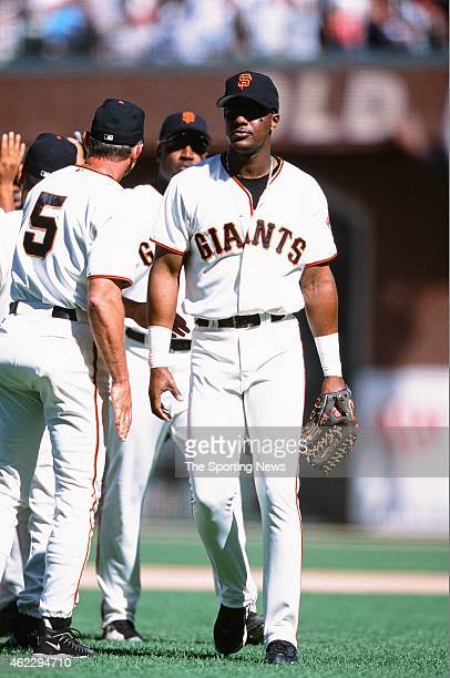 Eric Davis of the San Francisco Giants looks on during a game against the St Louis Cardinals on July 1 2001 in San Francisco California