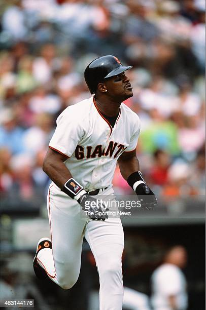 Eric Davis of the San Francisco Giants runs against the Los Angeles Dodgers at Pacific Bell Park on October 6 2001 in San Francisco California
