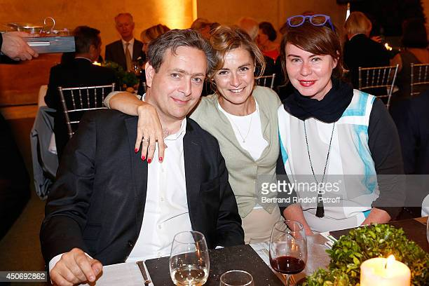Eric De Chassey his wife actress Anne Consigny and Miss Jean de Loisy attend the private tour and dinner of the Lee Ufan's Exhibition at Chateau de...