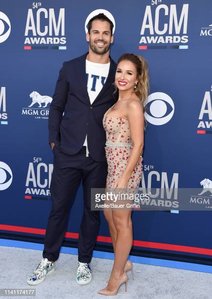 Eric Decker and Jessie James Decker attend the 54th Academy of Country Music Awards at MGM Grand Garden Arena on April 07, 2019 in Las Vegas, Nevada.