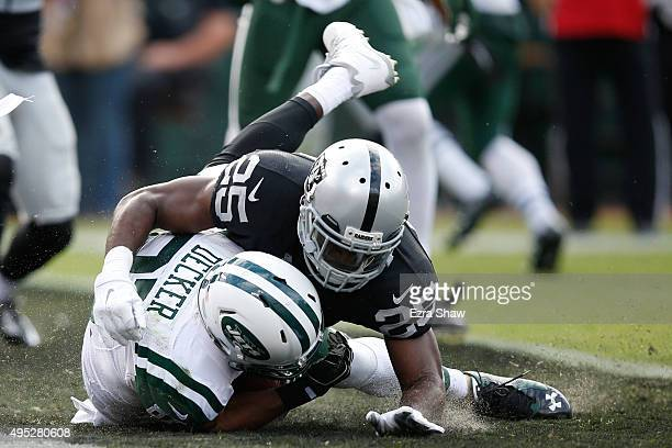 Eric Decker of the New York Jets makes a 4yard touchdown catch against the Oakland Raiders during their NFL game at Oco Coliseum on November 1 2015...