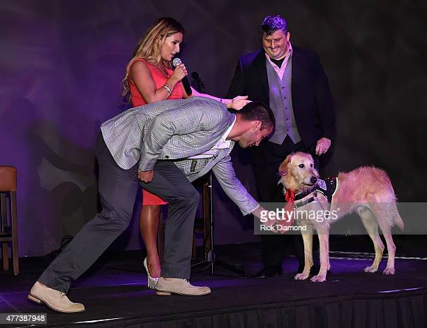 Eric Decker Singer/Songwriter Jessie James Decker Decker's Dog Rommy and Ret Sgt US Army Shon Wilson attend On Deck With The Deckers Hosted By The...