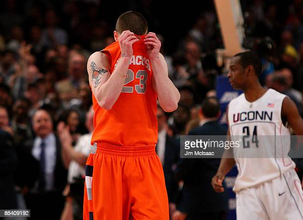 Eric Devendorf of the Syracuse Orange reacts between plays against the Connecticut Huskies during the quarterfinals of the Big East Tournament at...