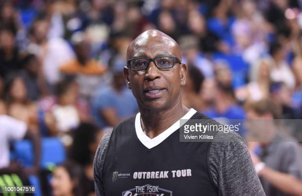 Eric Dickerson attends Monster Energy Outbreak Presents $50K Charity Challenge Celebrity Basketball Game at UCLA's Pauley Pavilion on July 17 2018 in...