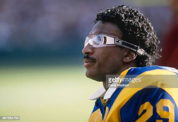 Eric Dickerson of the Los Angeles Rams plays in a National Football League game against the Houston Oilers on December 17 1984 at Anaheim Stadium in...