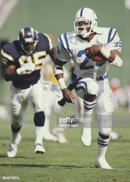 Eric Dickerson, Running Back for the Indianapolis Colts during the American Football Conference West game against the San Diego Chargers on 23...