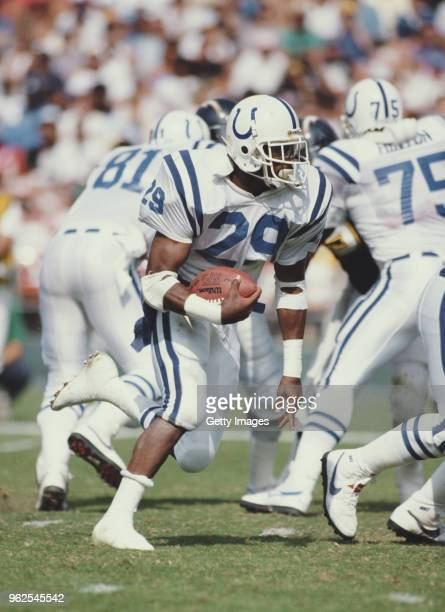 Eric Dickerson Running Back for the Indianapolis Colts during the American Football Conference West game against the San Diego Chargers on 23 October...