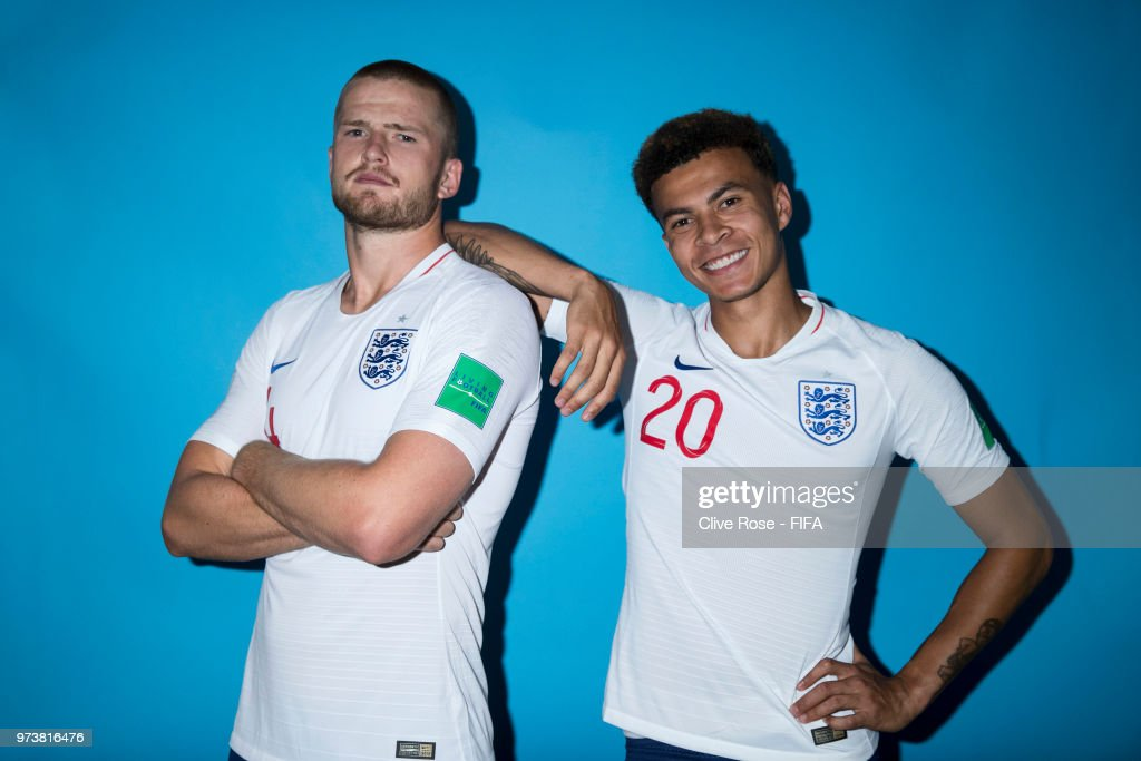 Eric Dier and Dele Alli of England pose during the official FIFA World Cup 2018 portrait session at on June 13, 2018 in Saint Petersburg, Russia.