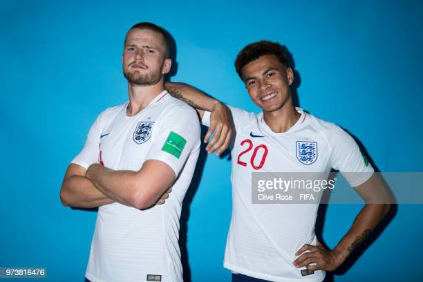 Eric Dier and Dele Alli of England pose during the official FIFA World Cup 2018 portrait session at on June 13 2018 in Saint Petersburg Russia