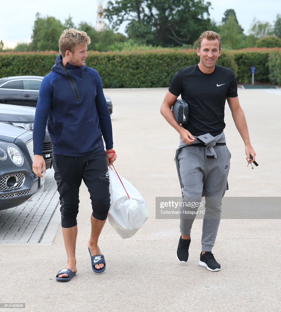 Eric Dier and Harry Kane of Tottenham arrive prior to the Tottenham Hotspur training session at Tottenham Hotspur Training Centre on July 14, 2017 in Enfield, England.