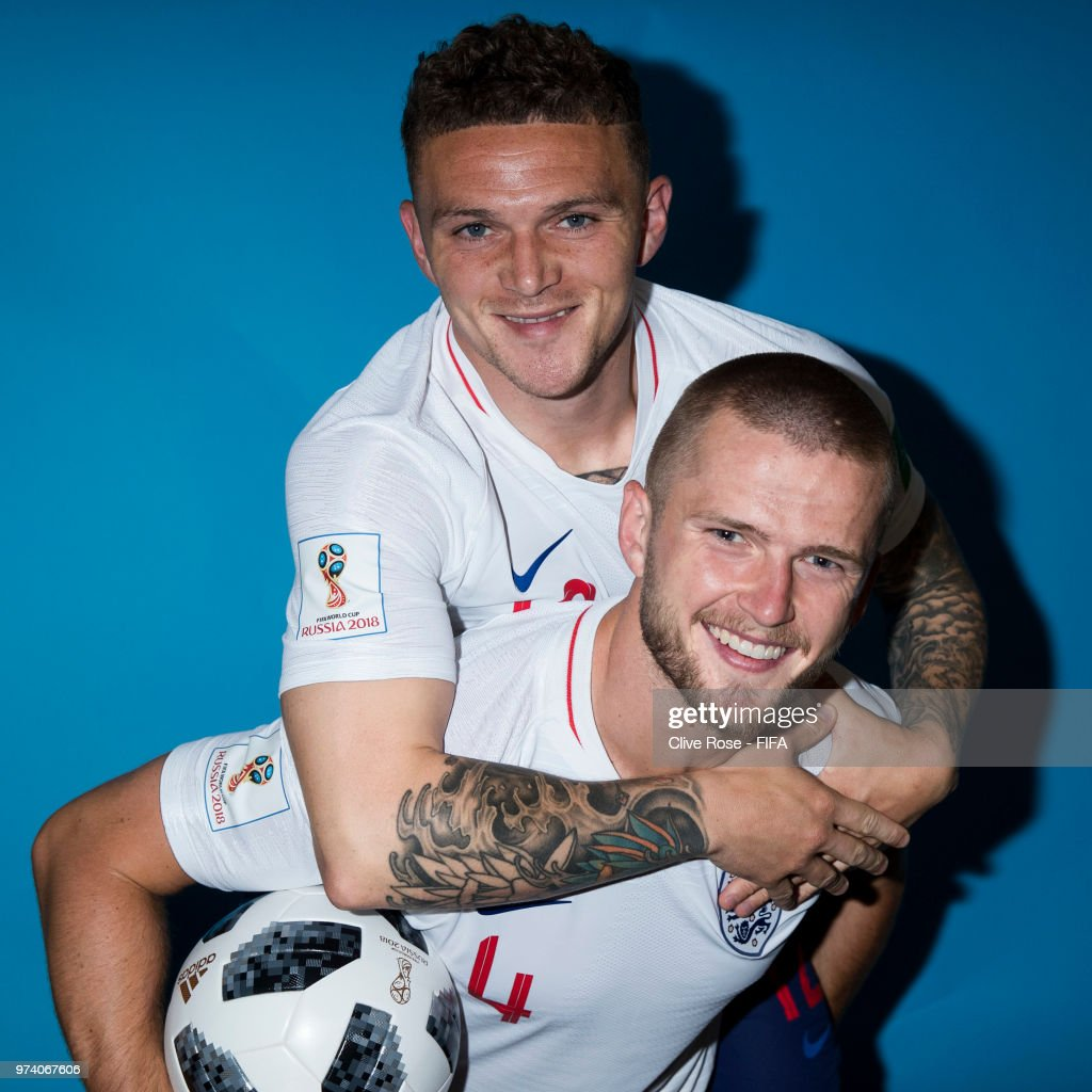 Eric Dier and Kieran Trippier of England pose for a portrait during the official FIFA World Cup 2018 portrait session at on June 13, 2018 in Saint Petersburg, Russia.