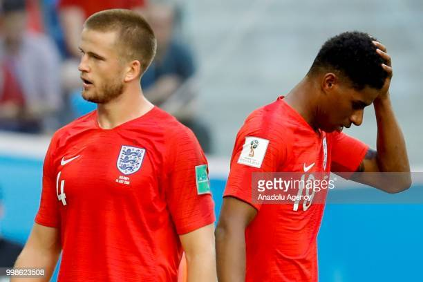 Eric Dier and Marcus Rashford of England react after losing 2018 FIFA World Cup RussiaPlayOff for Third Place against Belgium at the Saint...