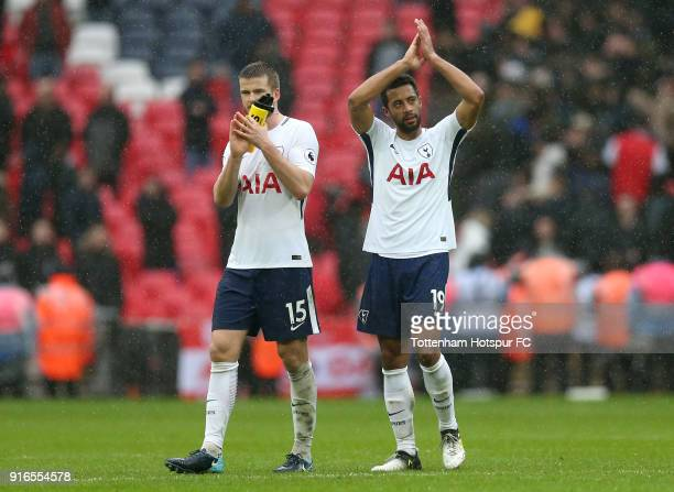 Eric Dier and Mousa Dembele of Tottenham Hotspur show appreciation to the fans followingthe Premier League match between Tottenham Hotspur and...