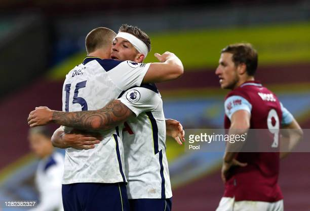 Eric Dier and Toby Alderweireld of Tottenham Hotspur celebrate after the Premier League match between Burnley and Tottenham Hotspur at Turf Moor on...