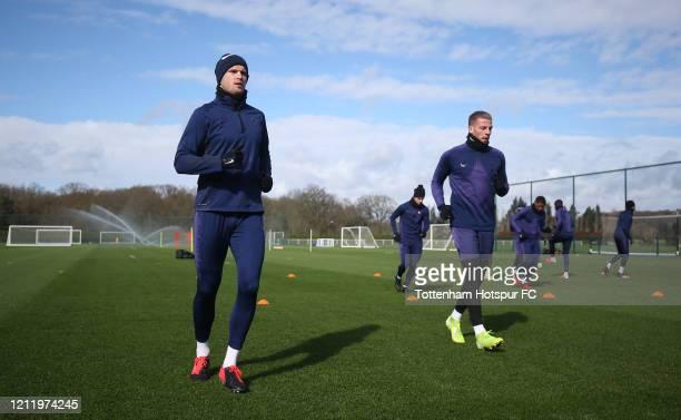 Eric Dier and Toby Alderweireld of Tottenham Hotspur during the Tottenham Hotspur training session at Tottenham Hotspur Training Centre on March 12...