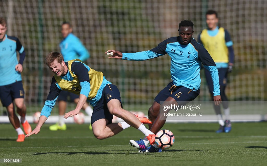 Eric Dier and Victor Wanyama of Tottenham during the Tottenham Hotspur training session at Tottenham Hotspur Training Centre on March 9, 2017 in Enfield, England.