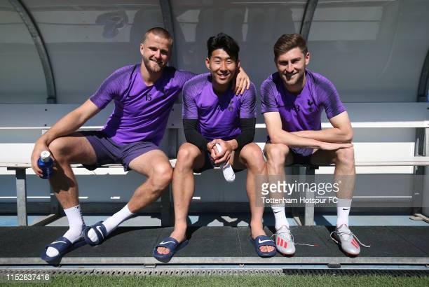 Eric Dier HeungMin Son and Ben Davies of Tottenham Hotspur during the Tottenham Hotspur training session at Real Madrid Training Complex on May 30...