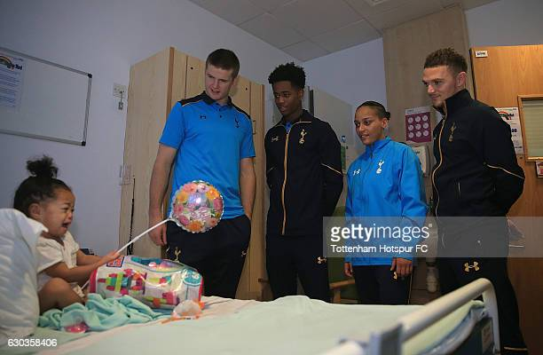 Eric Dier Kieran Trippier Shayon Harrison and Bianca Baptiste of Tottenham Hotspur deliver christmas presents to local hospitals on December 21 2016...