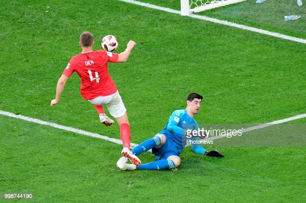 Eric Dier midfielder of England Thibaut Courtois goalkeeper of Belgium during the FIFA 2018 World Cup Russia Playoff for third place match between...