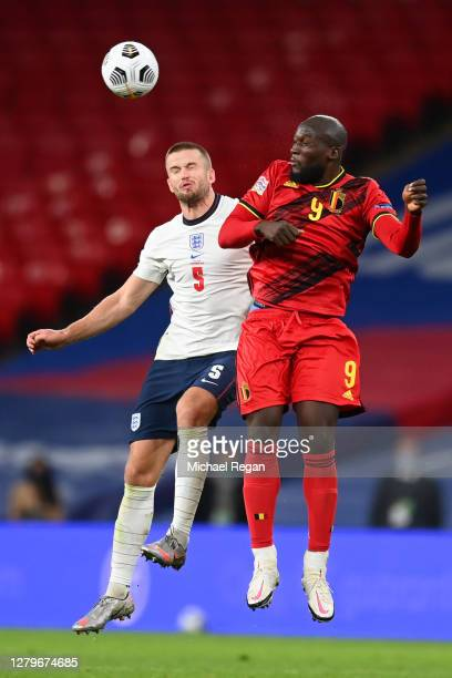 Eric Dier of England battles for possession with Romelu Lukaku of Belgium during the UEFA Nations League group stage match between England and...