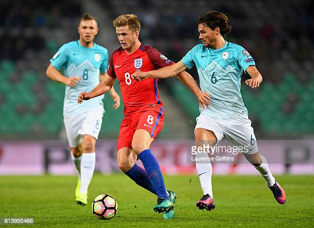 Eric Dier of England battles for the ball with Rene Krhin of Slovenia during the FIFA 2018 World Cup Qualifier Group F match between Slovenia and...