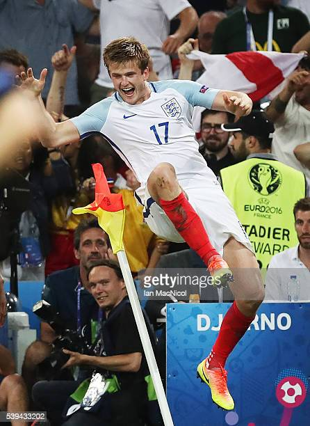 Eric Dier of England celebrates after scoring during the UEFA EURO 2016 Group B match between England and Russia at Stade Velodrome on June 11, 2016...