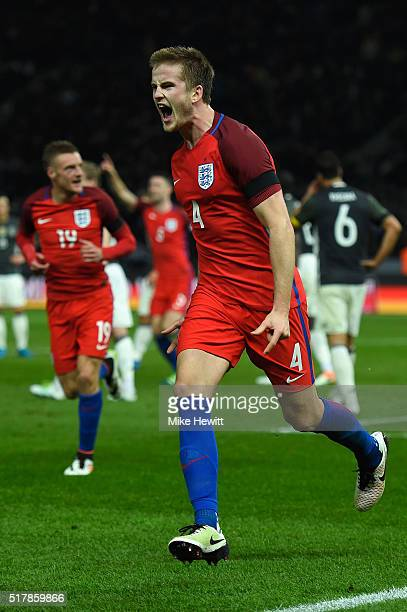 Eric Dier of England celebrates after scoring the winner during an International friendly between Germany and England at Olympiastadion on March 26...