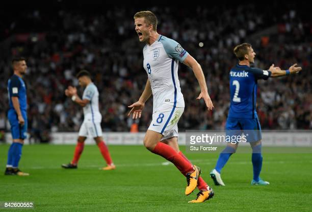 Eric Dier of England celebrates as he scores their first goal during the FIFA 2018 World Cup Qualifier between England and Slovakia at Wembley...