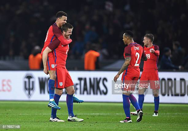 Eric Dier of England celebrates his team's 32 win with his team mates Dele Alli Nathaniel Clyne and Jamie Vardy after the International Friendly...