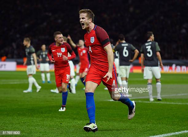 Eric Dier of England celebrates scoring his team's third goal during the International Friendly match between Germany and England at Olympiastadion...