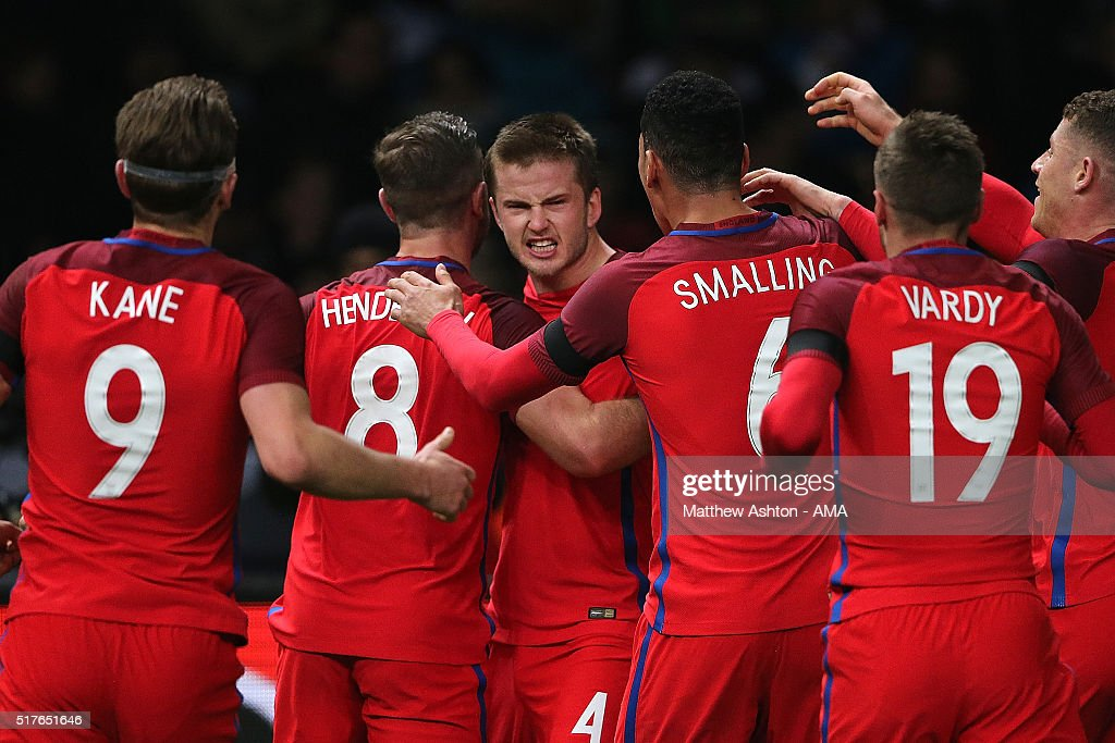 Eric Dier of England celebrates scoring the winning goal with his team-mates during the International Friendly match between Germany and England at Olympiastadion on March 26, 2016 in Berlin, Germany.