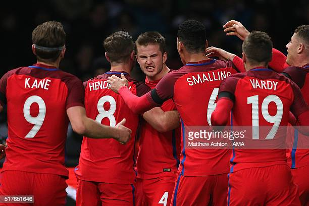 Eric Dier of England celebrates scoring the winning goal with his teammates during the International Friendly match between Germany and England at...