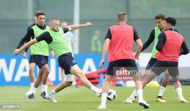 Eric Dier of England during a training session as part of the England media access at Spartak Zelenogorsk Stadium ahead of the FIFA World Cup 2018 on...