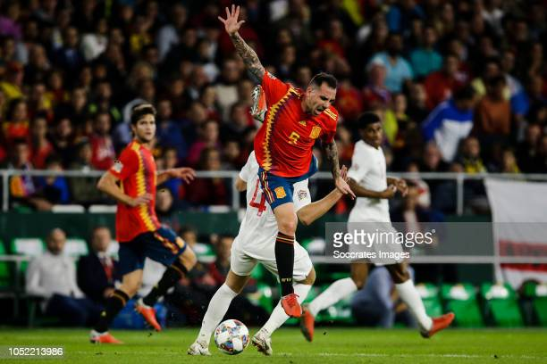 Eric Dier of England Paco Alcacer of Spain during the UEFA Nations league match between Spain v England at the Estadio Benito Villamarin on October...