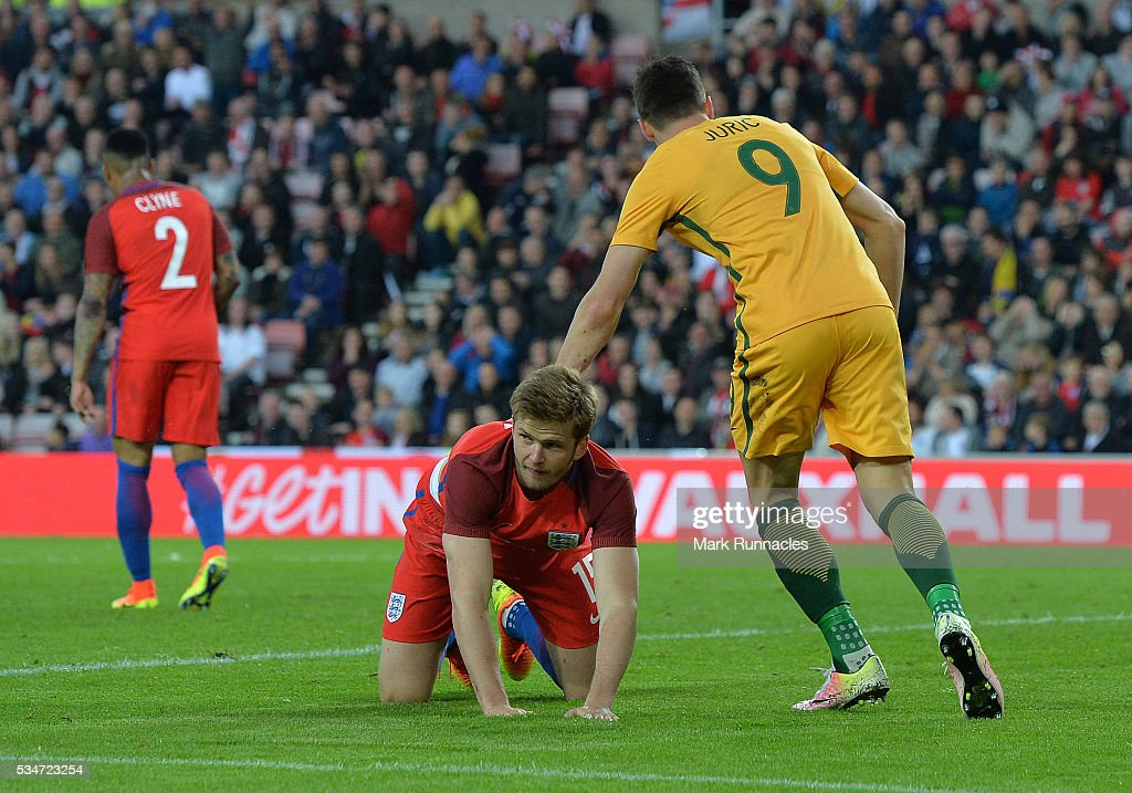 Eric Dier of England reacts after scoring an own goal in the second half during the International Friendly match between England and Australia at Stadium of Light on May 27, 2016 in Sunderland, England.