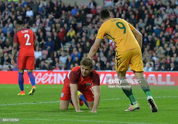 Eric Dier of England reacts after scoring an own goal in the second half during the International Friendly match between England and Australia at...