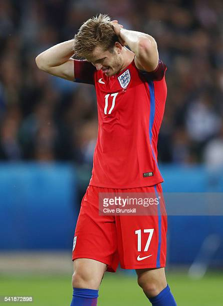Eric Dier of England reacts during the UEFA EURO 2016 Group B match between Slovakia and England at Stade GeoffroyGuichard on June 20 2016 in...