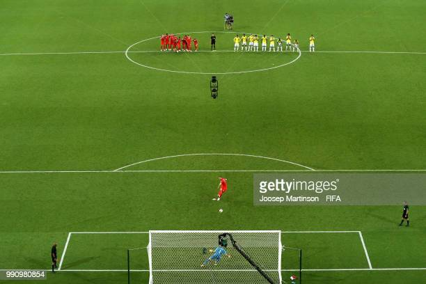 Eric Dier of England scores his sides 5th penalty past David Ospina of Colombia during the 2018 FIFA World Cup Russia Round of 16 match between...