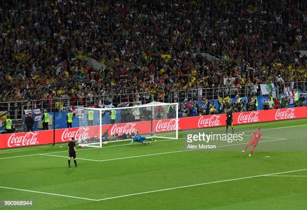 Eric Dier of England scores his team's fifth and winning penalty past David Ospina of Colombia in the penalty shoot out during the 2018 FIFA World...