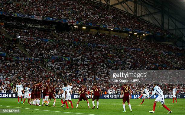 Eric Dier of England scores his team's first goal from a free kick during the UEFA EURO 2016 Group B match between England and Russia at Stade...