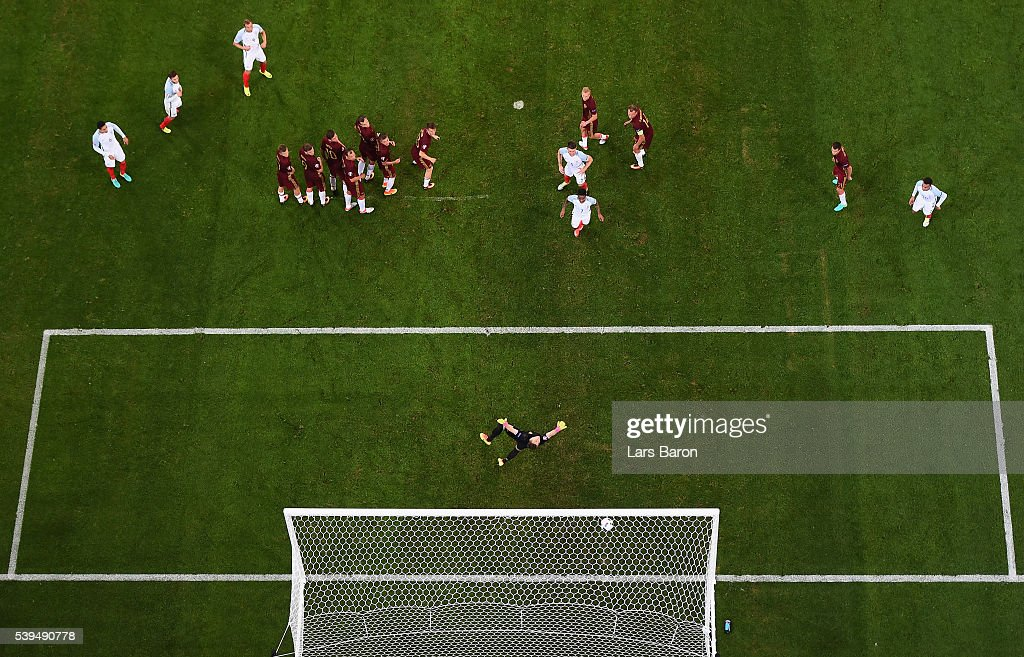 Eric Dier of England (not in the picture) scores his team's first goal from a free kick during the UEFA EURO 2016 Group B match between England and Russia at Stade Velodrome on June 11, 2016 in Marseille, France.