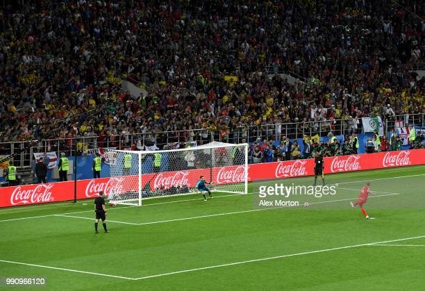 Eric Dier of England scores the winning penalty during the 2018 FIFA World Cup Russia Round of 16 match between Colombia and England at Spartak...