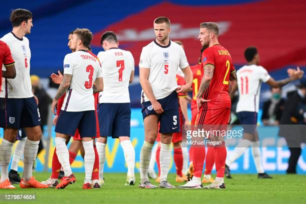 Eric Dier of England speaks with Toby Alderweireld of Belgium after the UEFA Nations League group stage match between England and Belgium at Wembley...