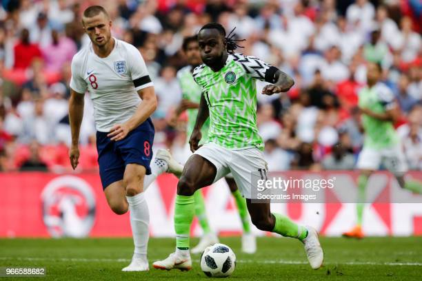 Eric Dier of England Victor Moses of Nigeria during the International Friendly match between England v Nigeria at the Wembley Stadium on June 2 2018...